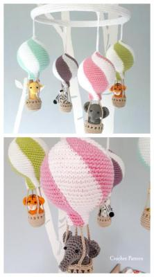 Baby mobile montgonfliere animaux amigurumi