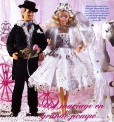 Image modeles poupees mannequin barbie et ken en maries ensembles crochetes