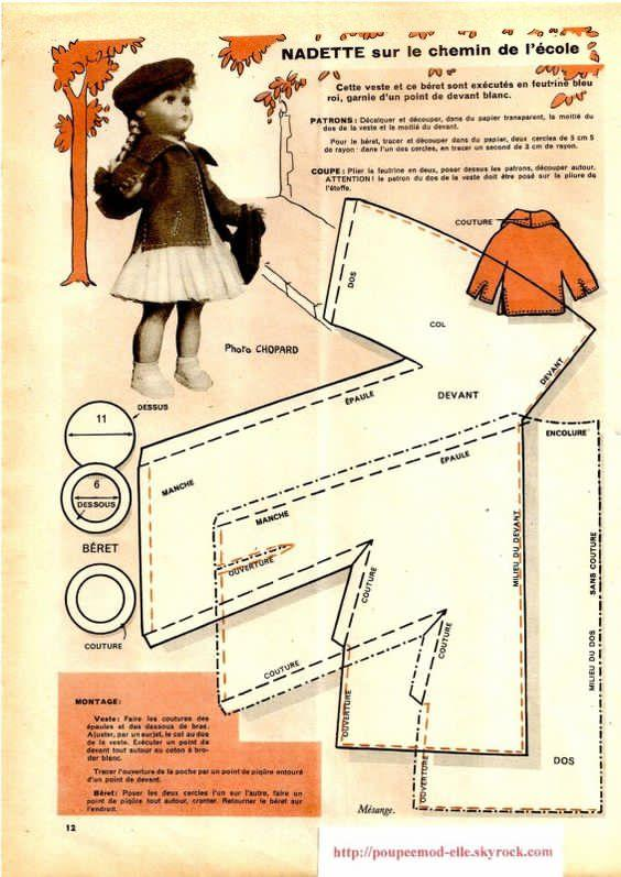 Modele poupee special rentree manteau beret couture