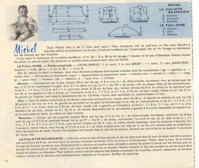 Modeles tricot explications poupons michel petitcollin petit baigneur pul over culotte