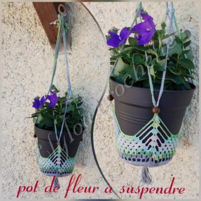 Pot de fleur a suspendre suspension a crocheter